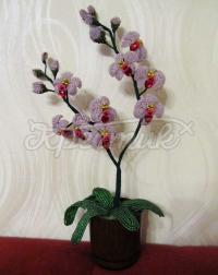 Цветок орхидея изготовлен из бисера, ручная работа