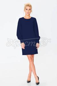 Синее платье лаконичного прямого крою фото