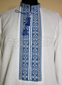 чоловіча вишиванка з блакитною вишивкою Київ