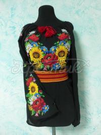 Черная женская вышиванка-туника с подсолнухами и маками