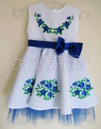 """Вышитое платье для девочки """"Голубые цветочки"""" фото"""