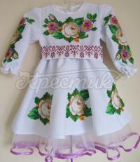"""Детское платье вышиванка """"Чайная роза"""" фото"""