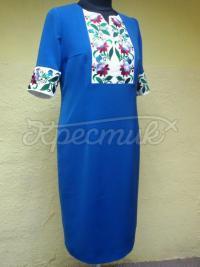 Синє плаття з вишивкою на грудях і на рукавах фото