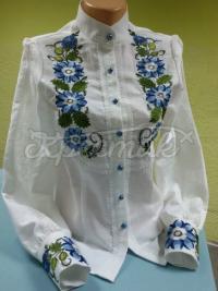 Стильна жіноча сорочка Блакитні квіти фото