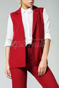 Жіночий червоний жилет з декорованими кишенями фото
