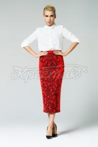 Красива жіноча спідниця червона фото