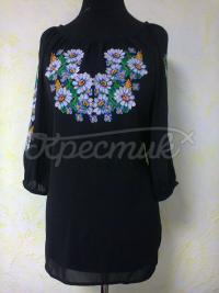 """Женская вышитая блузка """"Ромашки на черном"""" фото"""