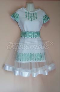 Дитяча вишита сукня з красивою зовнішньою спідницею з фатина фото