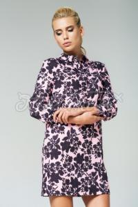 Жіноча сукня з квітковим принтом рожева  фото