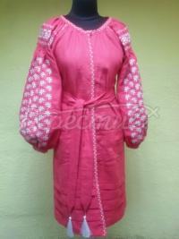 """Рожеве вишите плаття на льоні """"Геометрія"""" фото"""