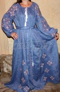 """Довга жіноча сукня вишиванка в бохо стилі """"Арія"""" фото"""
