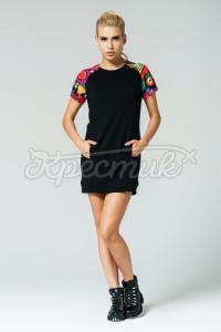 Жіноча сукня з кольоровими плічками чорна фото
