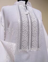 Купить мужскую вышиванку белым по белому вышитую  мережками