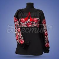 """Жіноча вишиванка """"Червона троянда на чорному"""" фото"""