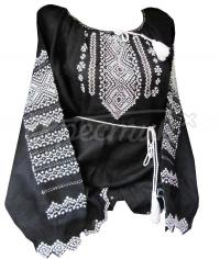 Женская черная вышиванка лен