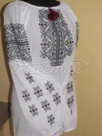 Блузка на шифоні з чорним узором фото