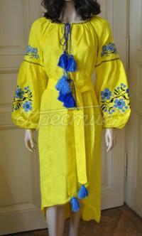 """Ніжна лимонна сукня бохо """"Незабудка"""" фото"""