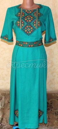 """Зелена вишита сукня з орнаментом на льоні """"Агат"""" фото"""