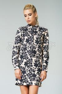 Жіноча квіткова сукня бежева фото