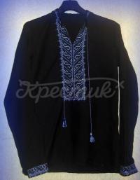 Черная мужская вышитая сорочка