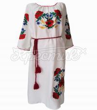 Украинское платье с маками и ромашками