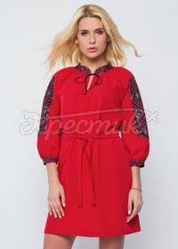 """Красное украинское платье """"Цветастая низь"""" фото"""