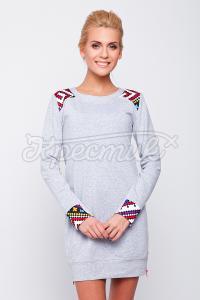 Серое платье в украинском стиле