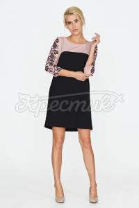 Чорно-бежева сукня з орнаментом фото