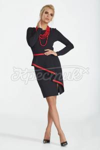 Трикотажна сукня з баскою фото