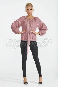 Пудрова блуза з поясом фото