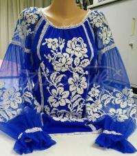 """Стильна синя блуза з євро сітки """"Мелоді"""" купити в магазині вишиванок"""