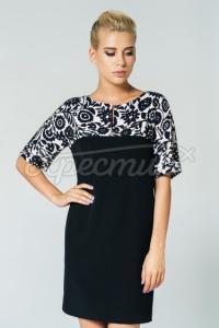 Жіноча сукня з квітковим принтом чорна  фото