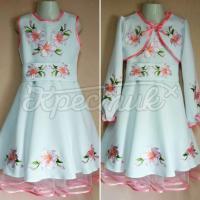 """Дитяче вишите плаття з поясом """"Рожева лілія"""" фото"""