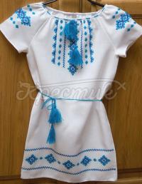 Блакитне вишите плаття для дівчинки фото