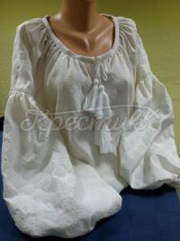 Блузка з льону білим по білому фото