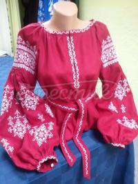 Вишита жіноча блузка на льоні полум'я фото