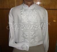 Чоловіча вишиванка білим шовком купити Київ