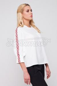 Українська блузка біла з імітацією вишивки