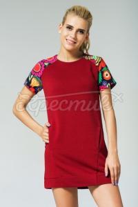 Женское бордовое платье с рукавами в украинском стиле фото