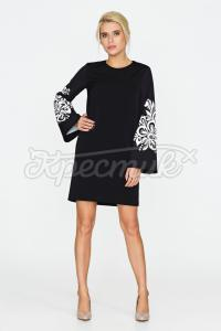 Чорна сукня з принтом вишивки придбати