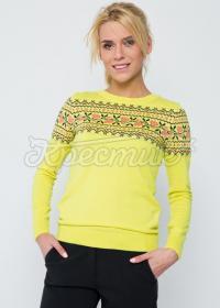 """В'язаний жовтий светр в українському стилі """"Трояндочка"""" фото"""