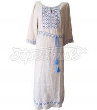 Українське плаття з блакитним орнаментом купити Київ
