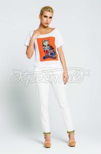 Жіноча літня футболка з котом фото