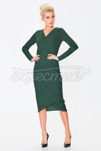 Зелена сукня з меланжевого трикотажу фото