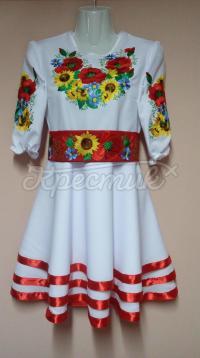 """Дитяча вишита сукня для дівчинки """"Соняшники і макі"""" фото"""