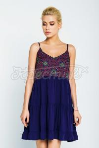 Легка синя жіноча сукня фото