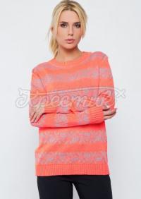 """В'язаний кораловий светр в українському стилі """"Трояндочка"""" фото"""