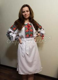 """Вишита жіноча сукня в українському стилі """"Розовий квіт"""" придбати"""