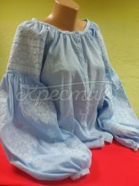 Жіноча вишиванка на льоні Блакитне небо фото