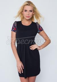 """Украинское платье черное """"Цветочная нежность"""" фото"""